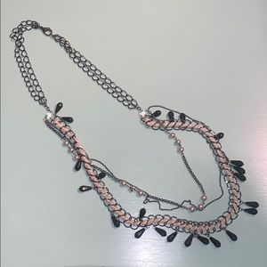 Express black beaded layered necklace